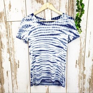 Blue & White String Tie Dye Fitted Tee Time & Tru